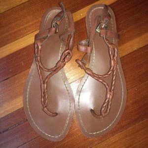 Ralph Lauren, size 7, brown rope thong sandals